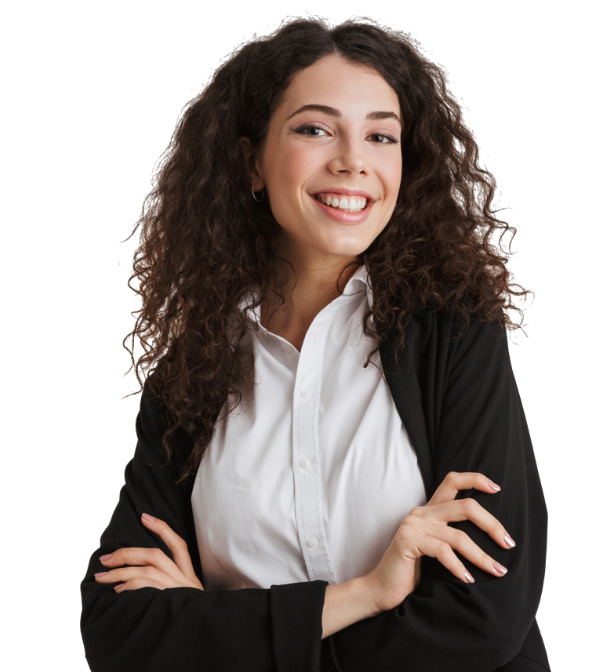 Smiling female agent with arms folded, wearing a white blouse and black cardigan sweater